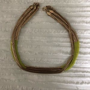 3-Chained Gold and Lime Green necklace